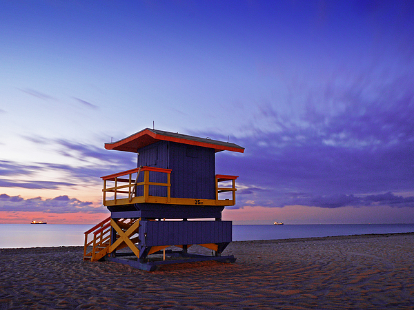 Miami Beach Lifeguard station at dawn Photograph by Bernd Schunack