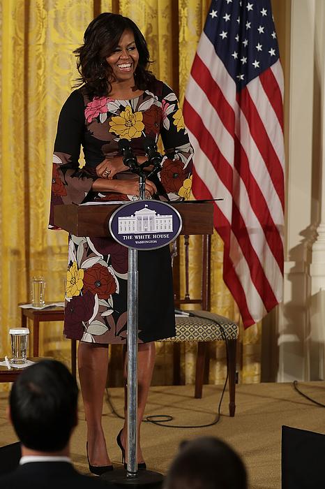 Michelle Obama Addresses White Houses Veterans Homelessness Summit Photograph by Chip Somodevilla