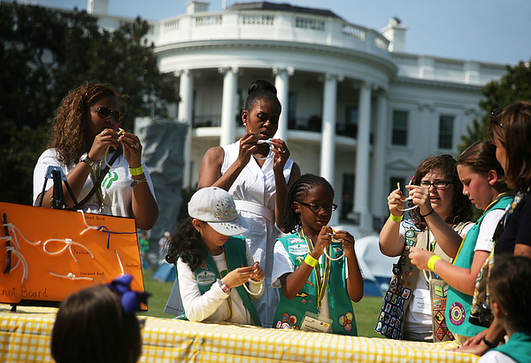 Michelle Obama Hosts Girls Scouts At First-Ever White House Campout Photograph by Alex Wong