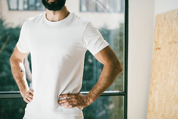 Mid section of bearded man wearing t-shirt Photograph by Sfio Cracho