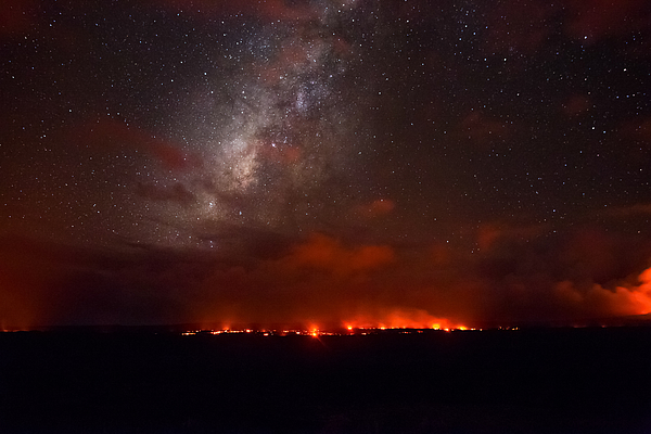 Milky Way over a Lava Flow in Hawaii Photograph by Tyler Hulett
