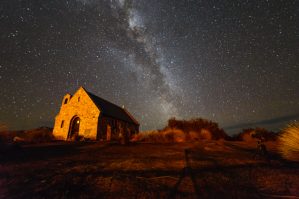 Milky Way over church Photograph by by Arief Rasa