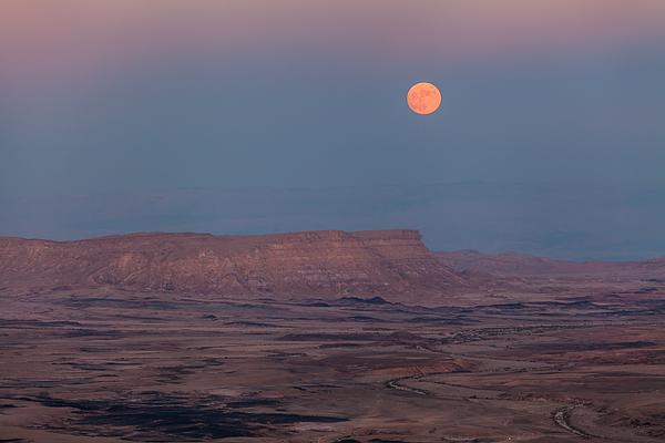 Moonrise over the Makhtesh Ramon, Israel Photograph by Anton Petrus