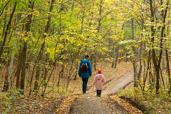 Mother and daughter are walking in the autumn forest Photograph by Andrey_Chuzhinov