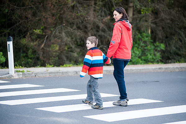 Mother and Son crossing the Street Photograph by Tepic