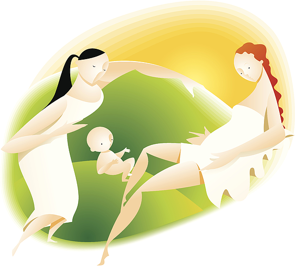Mother With Newborn Baby And Doula Drawing by Scotellaro