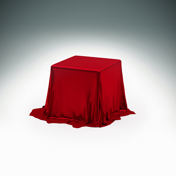 Mystery box under red silk cloth Drawing by Doug Armand