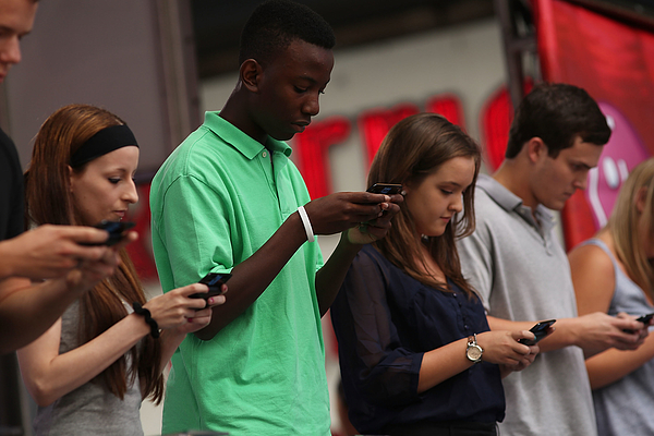 National Texting Championship Held in Times Square Photograph by Spencer Platt