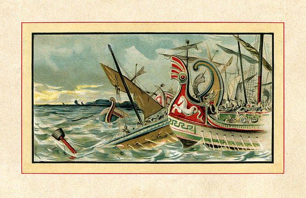 Naval Battle of Arginusae 406 BC near Lesbos Drawing by Grafissimo