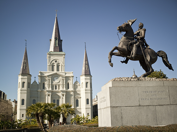 New Orleans, St. Louis Cathedral And General Jackson Photograph by Pgiam