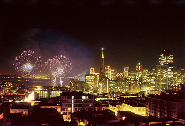 New Years Fireworks in San Francisco 2000 Photograph by Jjwithers