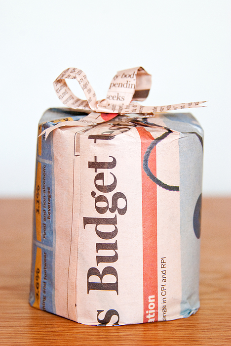 Newspaper Wrapped Gift Photograph by Sharon Vos-Arnold