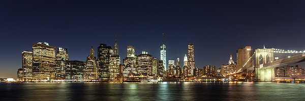 Night panorama of Lower Manhattan, New York City, New York State, USA Photograph by Wolfgang Wörndl