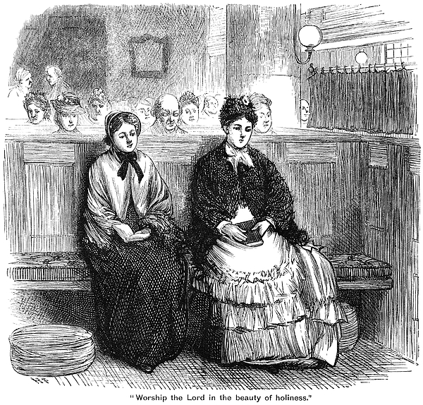 Nineteenth century worshippers in a church Drawing by Whitemay