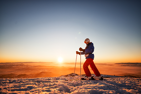 Nordic walking at sunset Photograph by Extreme-photographer