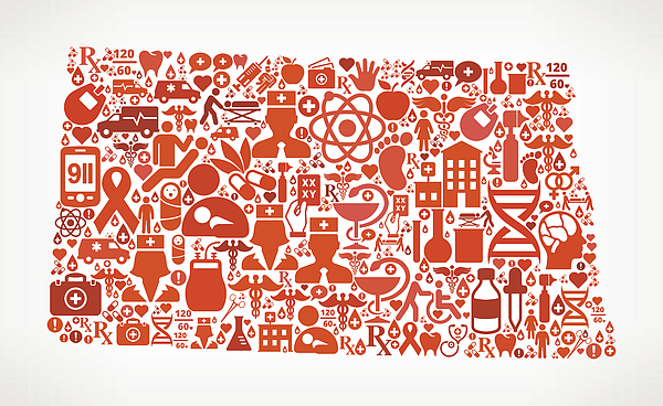NorthDakota Healthcare and Medical Red Icon Pattern Drawing by Bubaone