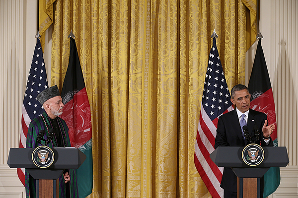Obama And Afghan President Karzai Hold Joint News Conf. At White House Photograph by Chip Somodevilla