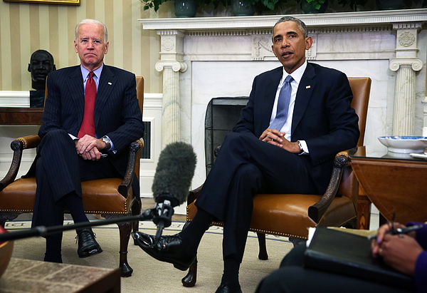 Obama Meets With Secretary Of State Kerry And VP Biden In The Oval Office Of White House Photograph by Alex Wong