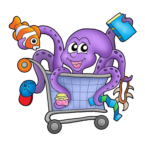 Octopus and shopping cart Photograph by Clairevis