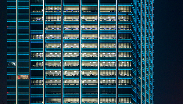 Office building at night Photograph by Liyao Xie