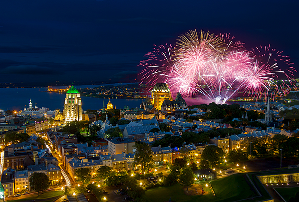 Old Quebec city Fireworks Photograph by Jean Surprenant