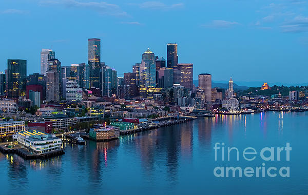 Over Seattle Downtown Skyline Blues Photograph