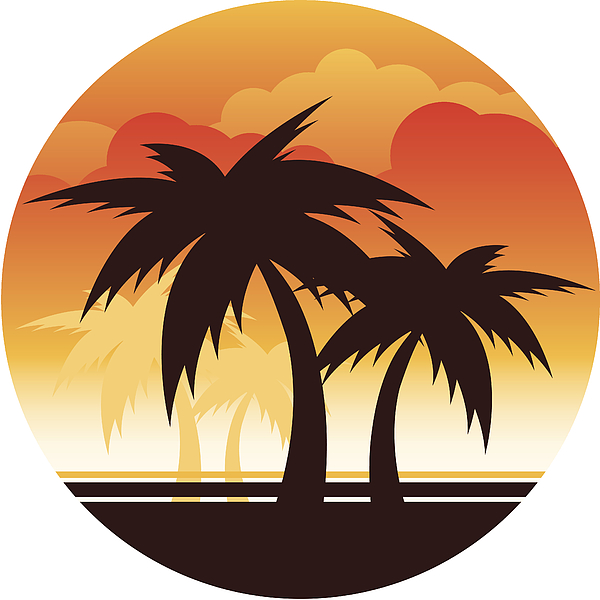 Palm Tree Sunset Drawing by Appleuzr