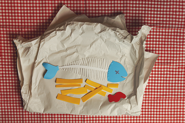 Paper Craft Fish and Chips with a side of tomato ketchup Photograph by Catherine MacBride