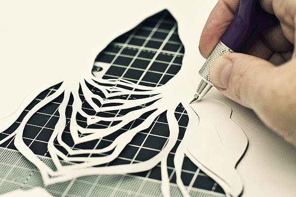 Paper cutting in progress Photograph by Catherine MacBride