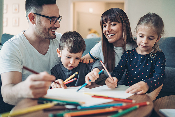 Parents and children coloring pages together Photograph by Pixelfit