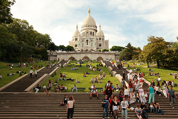 People in front of Basilique Du Sacre Coeur Photograph by Pejft