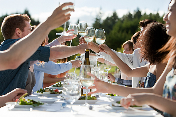 People toasting wine glasses at outdoor dinner party Photograph by Image Source