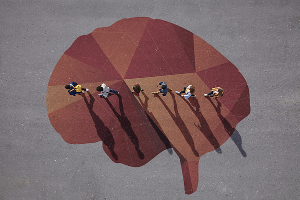 People walking in line across painted brain, on asphalt Photograph by Klaus Vedfelt