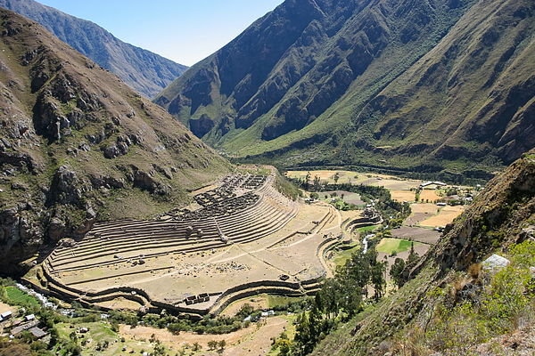 Peruvian farming terrace built into the side of a hill Photograph by Burroblando