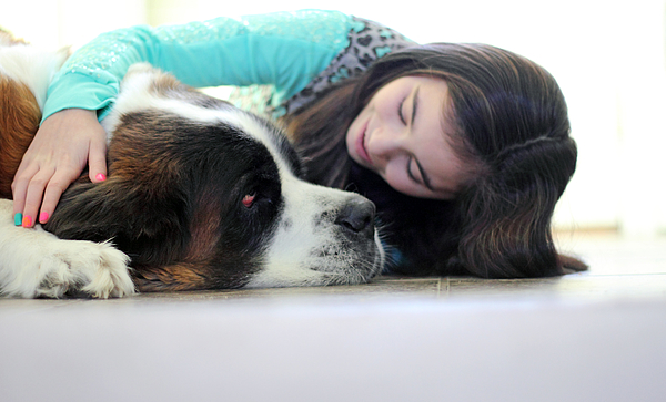 Petting the dog Photograph by Cappi Thompson