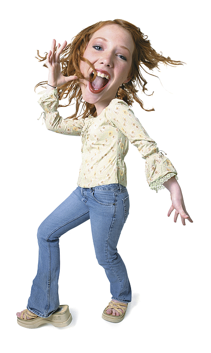 Photo Caricature Of A Caucasian Redheaded Teenage Girl As She Playfully Dances Photograph by Photodisc