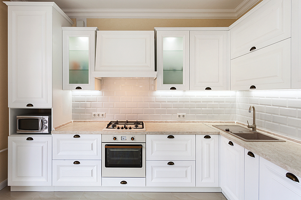 Photo of upscale interior with bright light kitchen cabinet and other designer elements Photograph by Brizmaker