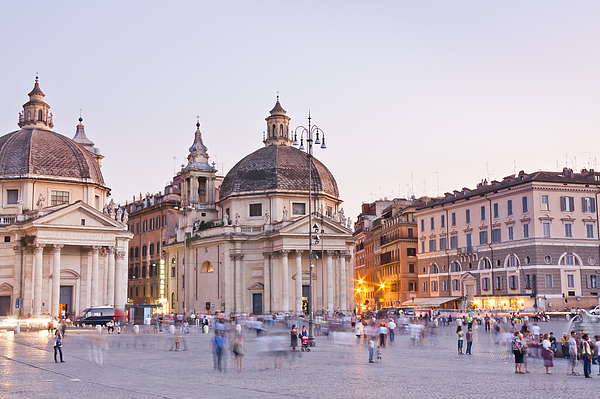Piazza del Popolo at sunset time, long exposure with motion effect Photograph by MassanPH
