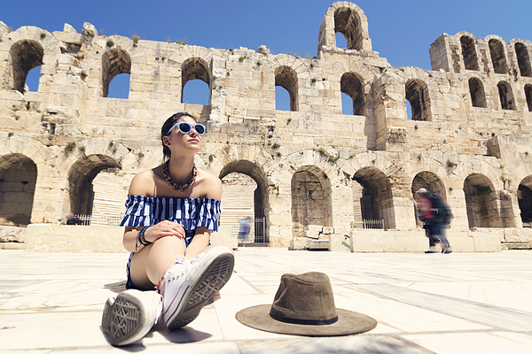 Picture Of Woman Tourist In Athens Photograph by Elitsa Deykova