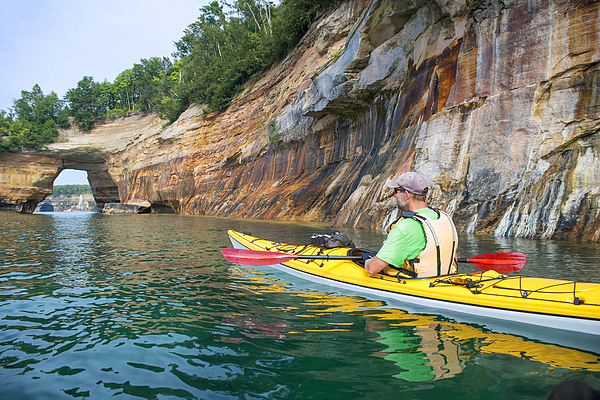 Pictured Rocks Kayaker Arch 2 Photograph by Genesisgraphics