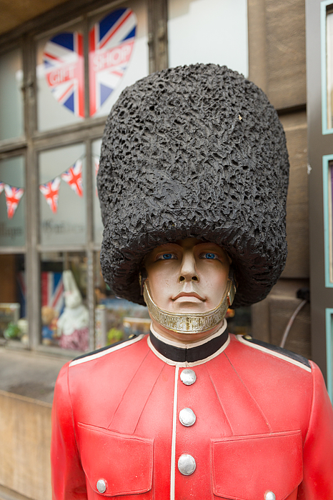 plastic model of a Beefeater soldier at a tourist information centre in Cambridge England Photograph by Mikeuk