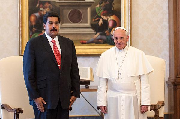 Pope Frances Meets President of Venezuela Nicolas Maduro. Photograph by Vatican Pool