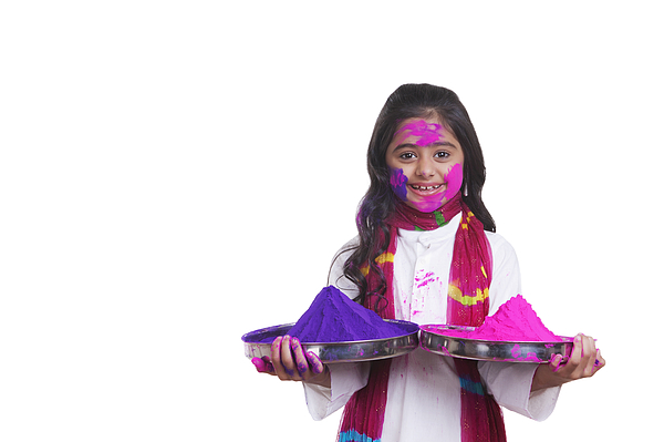 Portrait of a girl with thalis of holi colour Photograph by Sudipta Halder
