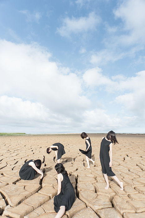 Portrait of five women on the dry land Photograph by Rieko Honma