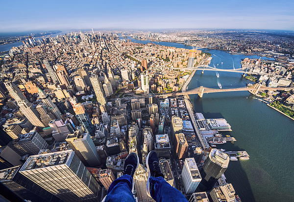 Pov Of Human Leg With Manhattan Skyline From Helicopter Photograph by Eloi_Omella