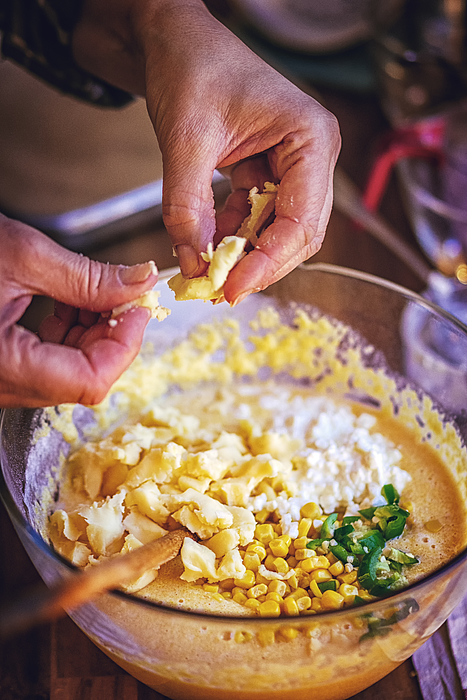 Preparing Mexican Corn Bread With Fresh Corn And Jalapenos Photograph by GMVozd