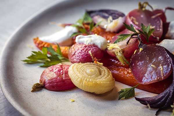 Pretty Roasted Vegetables with Almond Cream Close Up Photograph by Enrique Díaz / 7cero