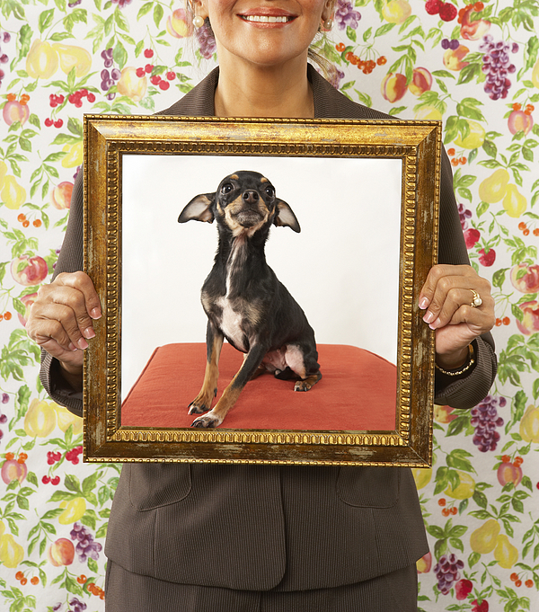 Proud woman holding framed picture of dog Photograph by John M Lund Photography Inc