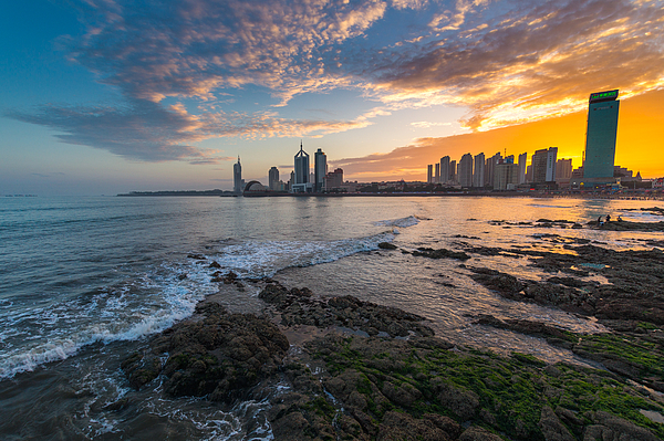 Qingdao Bay Skyline Sunset Glow Photograph by MirageC