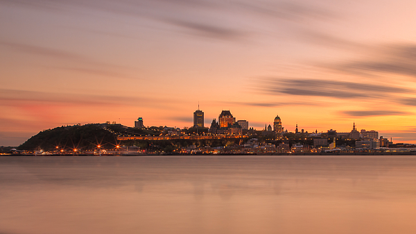 Quebec_city_long_exposure_summer_sunset_16X9_DRI Photograph by Jean Surprenant